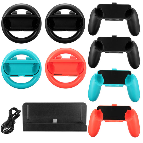 10 in 1 Nintendo Switch Accessory Set: Charging Station+Joy-Con Controller Handle Grip+Steering Wheel