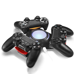 DualShock 4 Charging Station - PS4 Controller Three Port Charger Dock With LED Indicator Lights