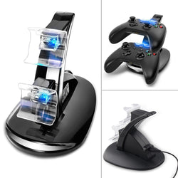 Xbox One Controller Charging Station Cradle Stand With 2 USB Charger Docks, Black