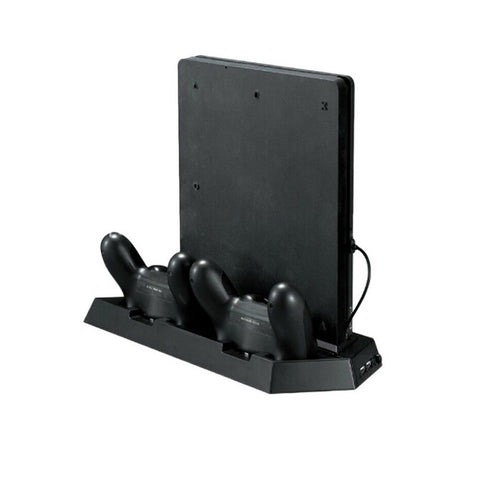 PS4 Slim Vertical Stand With Cooling Fan, Controller Charging Station