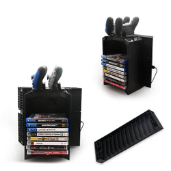 PlayStation 4 Game Disk Storage Tower With Console Stand, Controller Charger