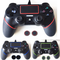 Wired PlayStation 4 Dualshock 4 Gamepad With Silicone Caps, Multiple Vibrations
