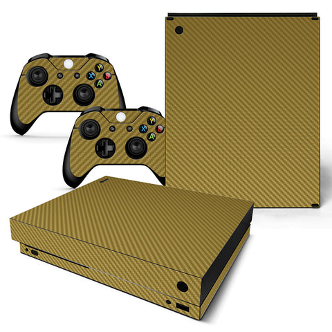 Gold Carbon Fiber-Themed Skin For Xbox One X Console And Controllers