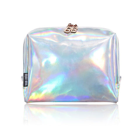 BEAT BAG introduces Silver/Dazed, high quality designer holographic makeup bag.