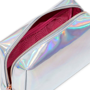 Quality holographic cosmetic bags with low zippers to access your makeup easily