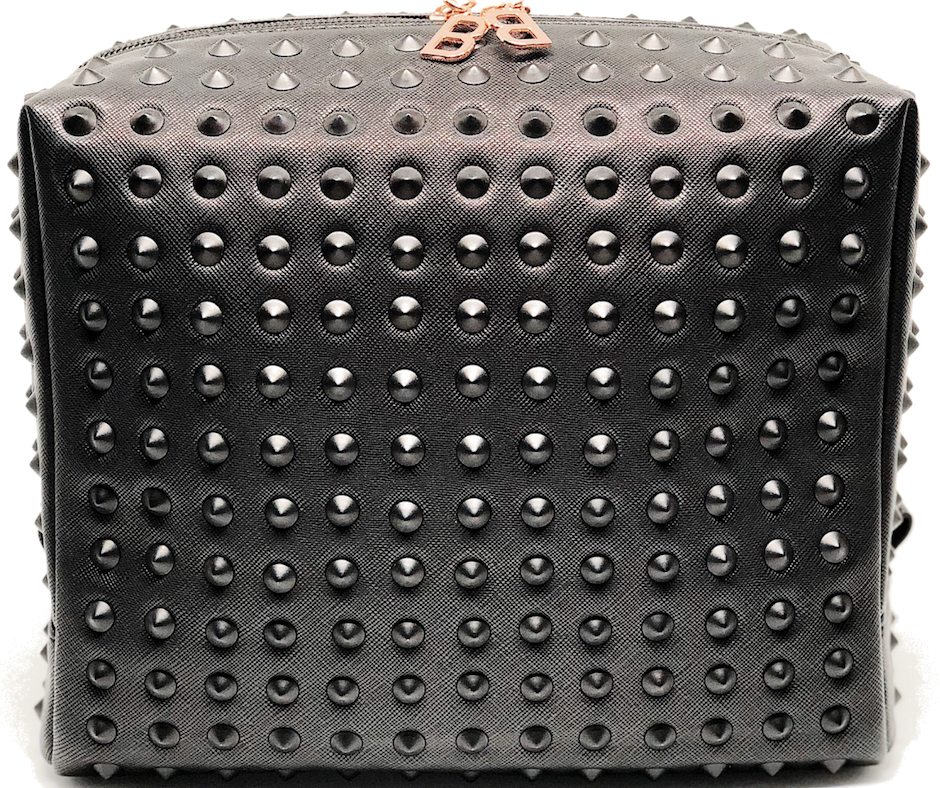 Deluxe Collection Black Studded Makeup Bag