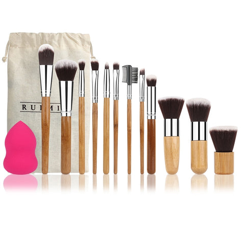 Bamboo Makeup Brush Set 12pcs
