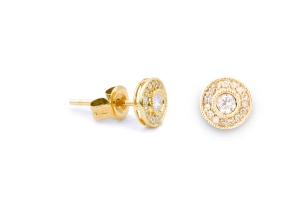 Round Bezel with Halo Stud Earrings