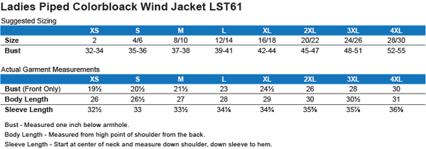Size Chart for LST61 Women's Quality Windbreaker