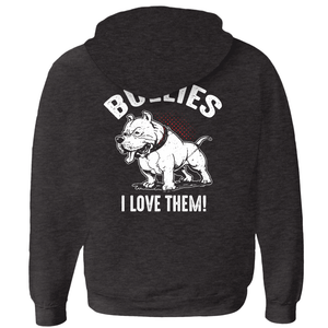 I Don't Like Bullies! - Zip-Up Hoodie Charcoal Black Small (S) - Little Pit Shop