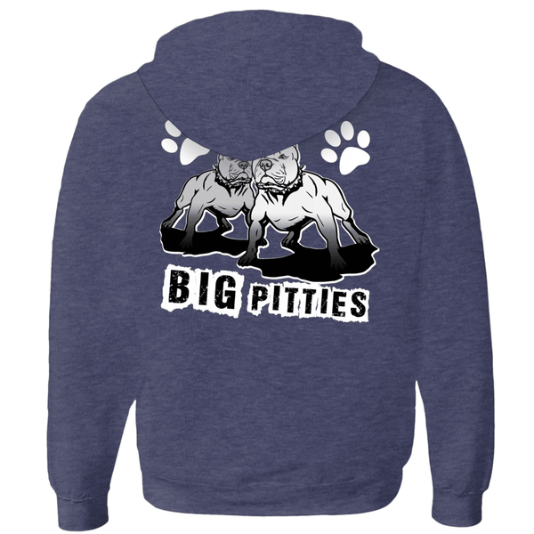 I Like Big Pitties Zip-up Hoodie Navy Triblend Medium (M) - Little Pit Shop
