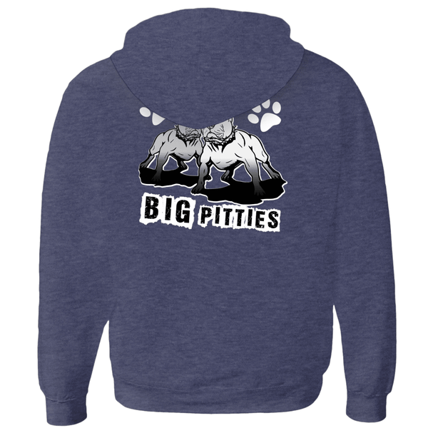 I Like Big Pitties Zip-up Hoodie Navy Triblend Small (S) - Little Pit Shop