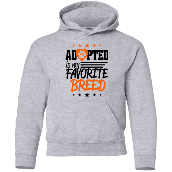 Adopted is My Favorite Breed - G185B Gildan Youth Pullover Hoodie Sport Grey YS - Little Pit Shop