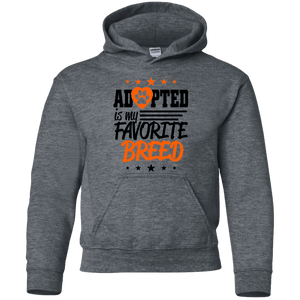 Adopted is My Favorite Breed - G185B Gildan Youth Pullover Hoodie Dark Heather YS - Little Pit Shop
