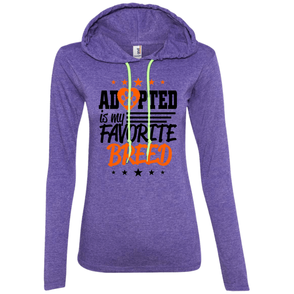Adopted is My Favorite Breed - 887L Anvil Ladies' LS T-Shirt Hoodie Heather Purple/Neon Yellow Small - Little Pit Shop