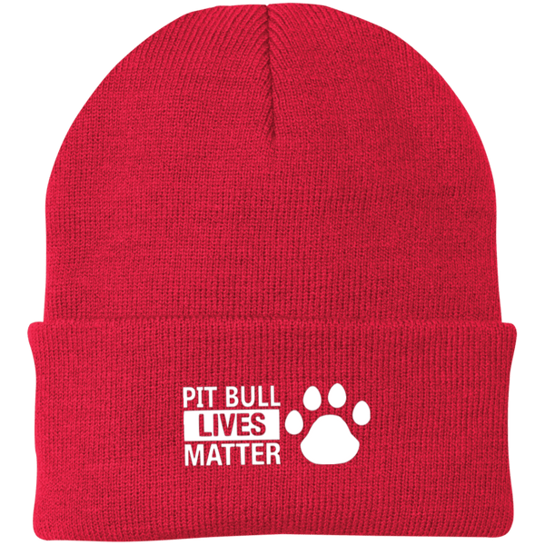 Pit Bull Lives Matter - CP90 Port Authority Knit Cap by Little Pit Shop Athletic Red One Size - Little Pit Shop