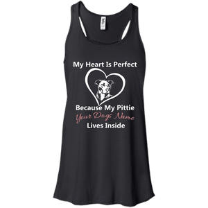 My Heart Is Perfect Personalized - B8800 Bella + Canvas Flowy Racerback Tank Black X-Small - Little Pit Shop