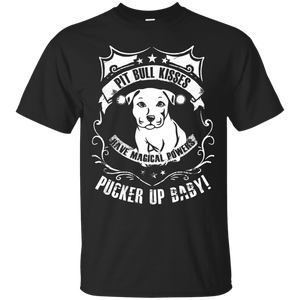 Pit Bull Kisses - G200 Gildan Ultra Cotton T-Shirt by Little Pit Shop Black Small - Little Pit Shop