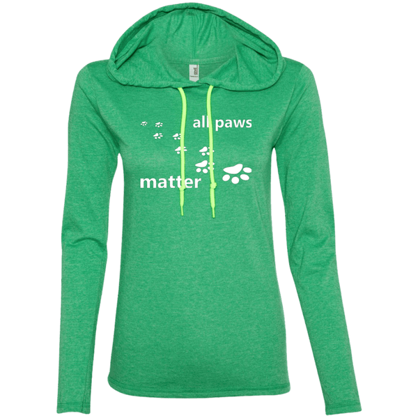 All Paws Matter - 887L Anvil Ladies' LS T-Shirt Hoodie by Little Pit Shop Heather Green/Neon Yellow Small - Little Pit Shop