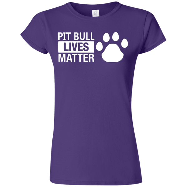 Pit Bull Lives Matter - G640L Gildan Softstyle Ladies' T-Shirt Dark Purple Small - Little Pit Shop