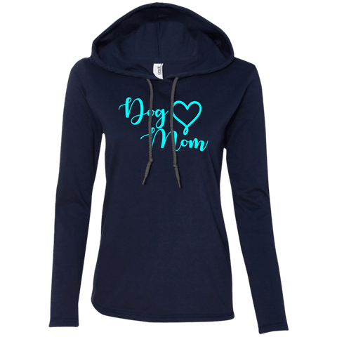 Dog Mom Teal Text - 887L Anvil Ladies' LS T-Shirt Hoodie Navy/Dark Grey Small - Little Pit Shop