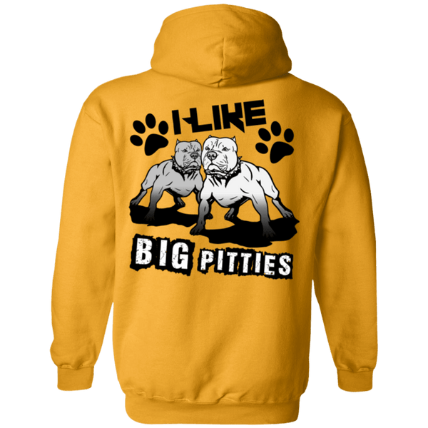 I Like Big Pitties Back Print Drk - G185 Gildan Pullover Hoodie 8 oz. Gold Small - Little Pit Shop