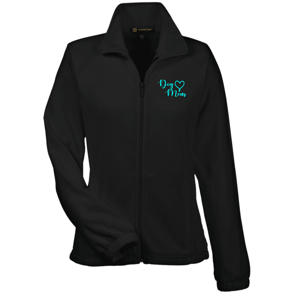 Dog Mom Teal Prnt - M990W Harriton Women's Fleece Jacket Black X-Small - Little Pit Shop