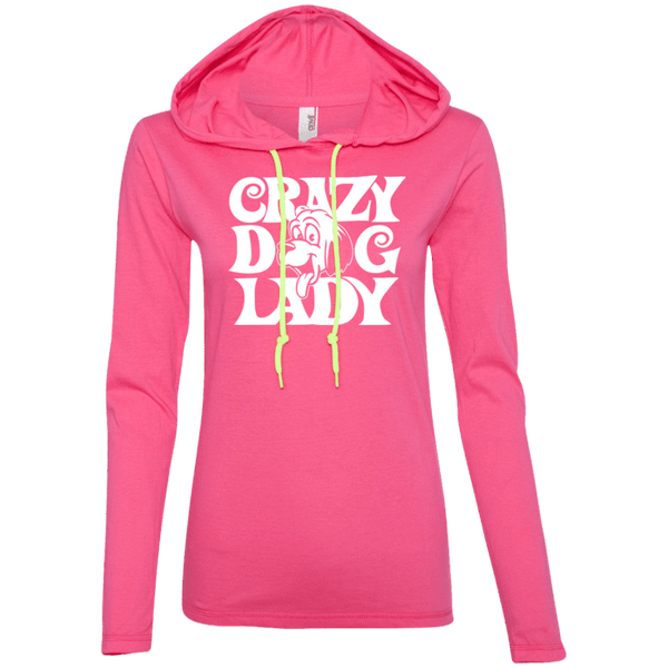Crazy Dog Lady - 887L Anvil Ladies' LS T-Shirt Hoodie Hot Pink/Neon Yellow Small - Little Pit Shop