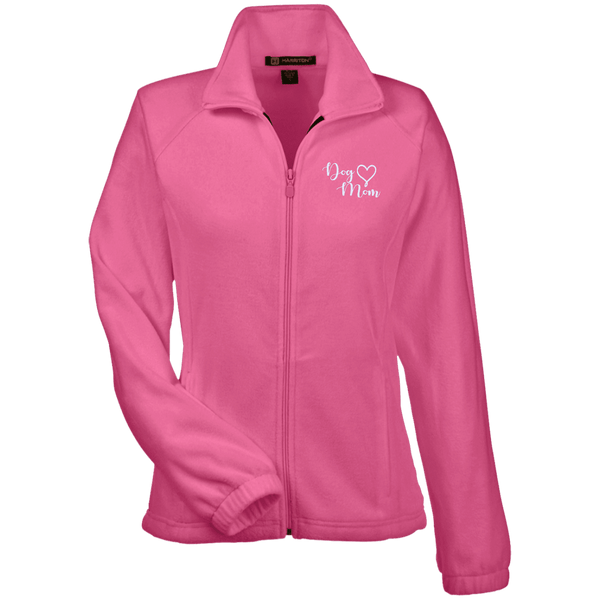 Dog Mom Wht Prnt - M990W Harriton Women's Fleece Jacket Charity Pink X-Small - Little Pit Shop