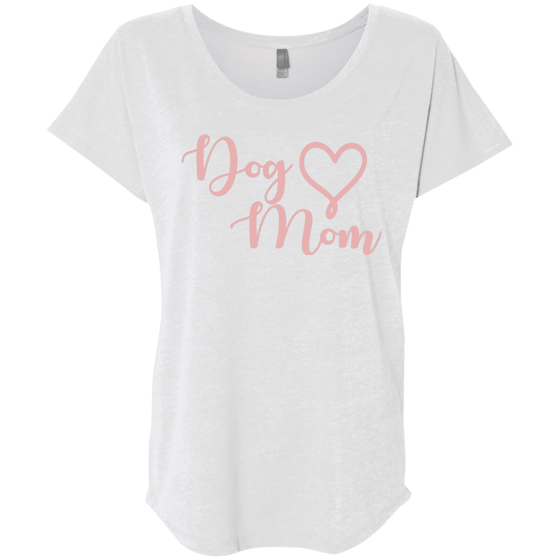 Dog Mom Pink Text - NL6760 Next Level Ladies' Triblend Dolman Sleeve Heather White X-Small - Little Pit Shop