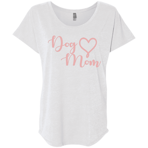 Dog Mom Pink Text - NL6760 Next Level Ladies' Triblend Dolman Sleeve, T-Shirts | Pit Bull T Shirts, Hoodies and more | Little Pit Shop