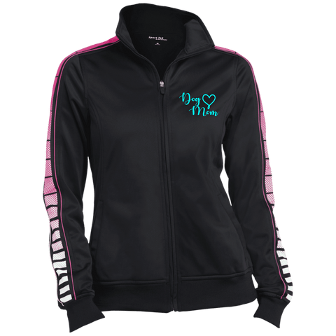 Dog Mom Teal Prnt - LST93 Sport-Tek Ladies' Dot Print Warm Up Jacket Black/Pink Raspberry X-Small - Little Pit Shop
