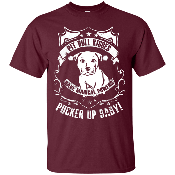 Pit Bull Kisses - G200 Gildan Ultra Cotton T-Shirt by Little Pit Shop Maroon Small - Little Pit Shop