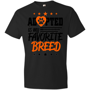 Adopted is My Favorite Breed - 990B Anvil Youth Lightweight T-Shirt 4.5 oz Black YXS - Little Pit Shop