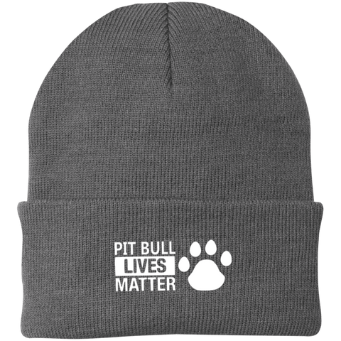 Pit Bull Lives Matter - CP90 Port Authority Knit Cap by Little Pit Shop Gray One Size - Little Pit Shop