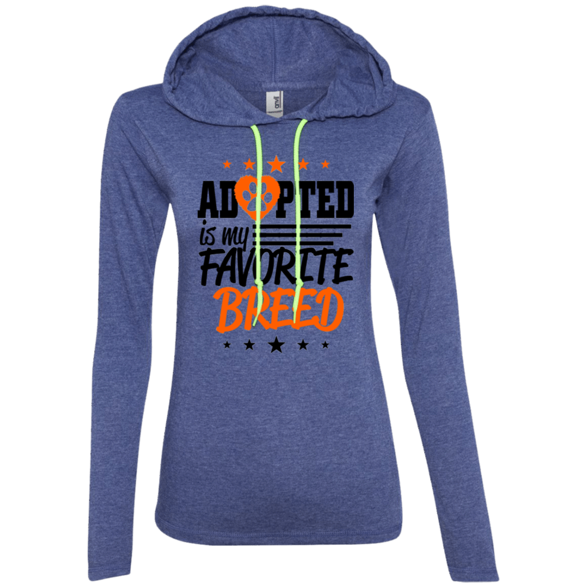 Adopted is My Favorite Breed - 887L Anvil Ladies' LS T-Shirt Hoodie Heather Blue/Neon Yellow Small - Little Pit Shop
