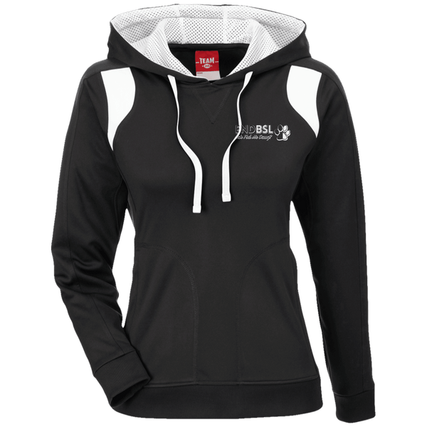 End BSL Embroidered - TT30W Team 365 Ladies' Colorblock Poly Hoodie By Little Pit Shop Black/White X-Small - Little Pit Shop