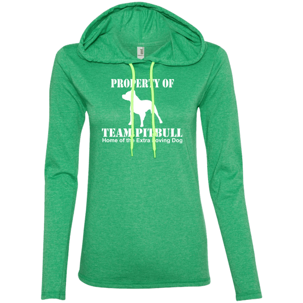 Team Pit Bull - 887L Anvil Ladies' LS T-Shirt Hoodie Heather Green/Neon Yellow Small - Little Pit Shop