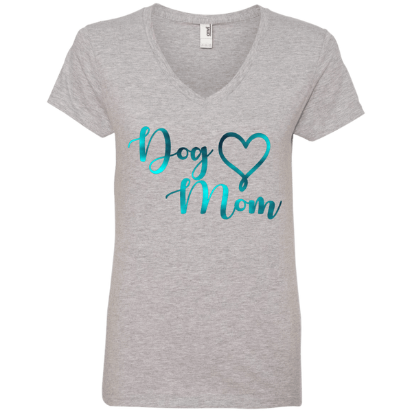 Dog Mom Teal Noise - 88VL Anvil Ladies' V-Neck T-Shirt Heather Grey Small - Little Pit Shop