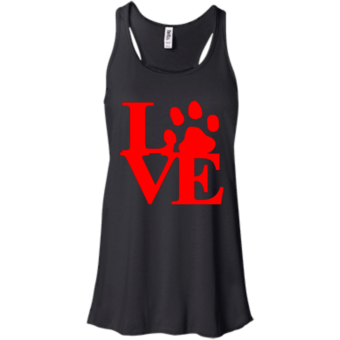 Love Red - B8800 Bella + Canvas Flowy Racerback Tank Black X-Small - Little Pit Shop