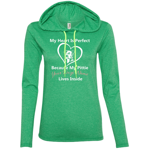 My Heart Is Perfect - Personalized - 887L Anvil Ladies' LS T-Shirt Hoodie Heather Green/Neon Yellow Small - Little Pit Shop