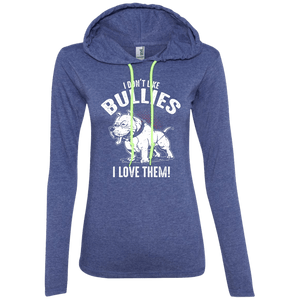 I Don't Like Bullies! - 887L Anvil Ladies' LS T-Shirt Hoodie Heather Blue/Neon Yellow Small - Little Pit Shop