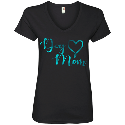 Dog Mom Teal Noise - 88VL Anvil Ladies' V-Neck T-Shirt Black Small - Little Pit Shop