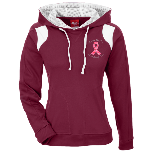 Lending Our Paws - TT30W Team 365 Ladies' Colorblock Poly Hoodie By Little Pit Shop Maroon/White X-Small - Little Pit Shop