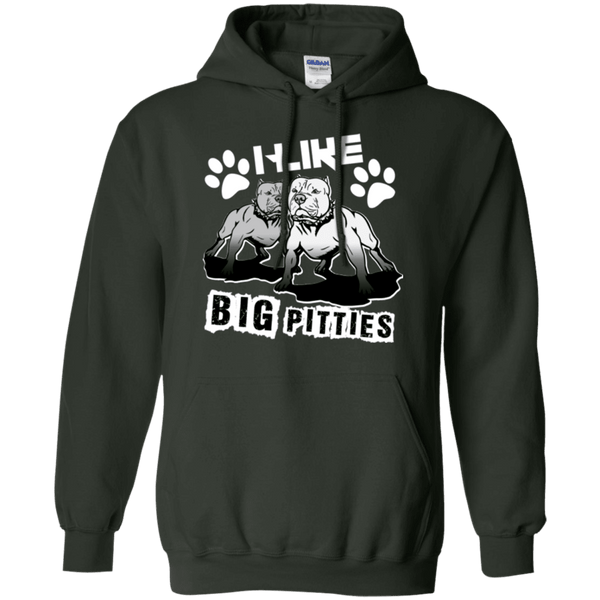I Like Big Pitties Lt - G185 Gildan Pullover Hoodie 8 oz. Forest Green Small - Little Pit Shop