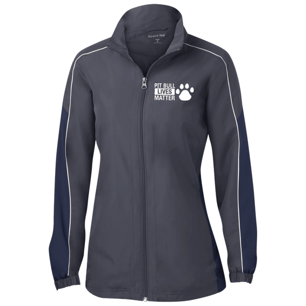 Pit Bull Lives Matter - LST61 Sport-Tek Ladies' Piped Colorblock Windbreaker by Little Pit Shop Graphite/True Navy/White X-Small - Little Pit Shop
