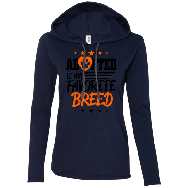 Adopted is My Favorite Breed - 887L Anvil Ladies' LS T-Shirt Hoodie Navy/Dark Grey Small - Little Pit Shop