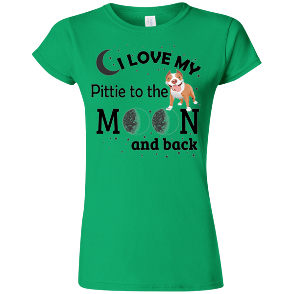 I Love My Pittie - G640L Gildan Softstyle Ladies' T-Shirt Light Irish Green Small - Little Pit Shop
