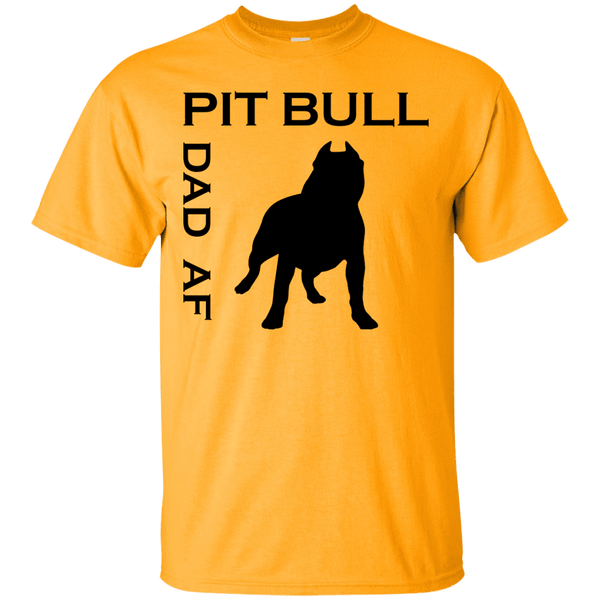 Pit Bull Dad AF - G200 Gildan Ultra Cotton T-Shirt Gold Small - Little Pit Shop