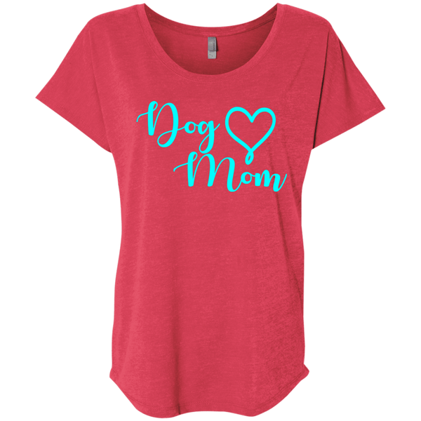 Dog Mom Teal Text - NL6760 Next Level Ladies' Triblend Dolman Sleeve Vintage Red X-Small - Little Pit Shop